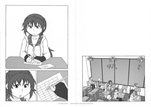 classroom, spider plants, main character filling in a timetable