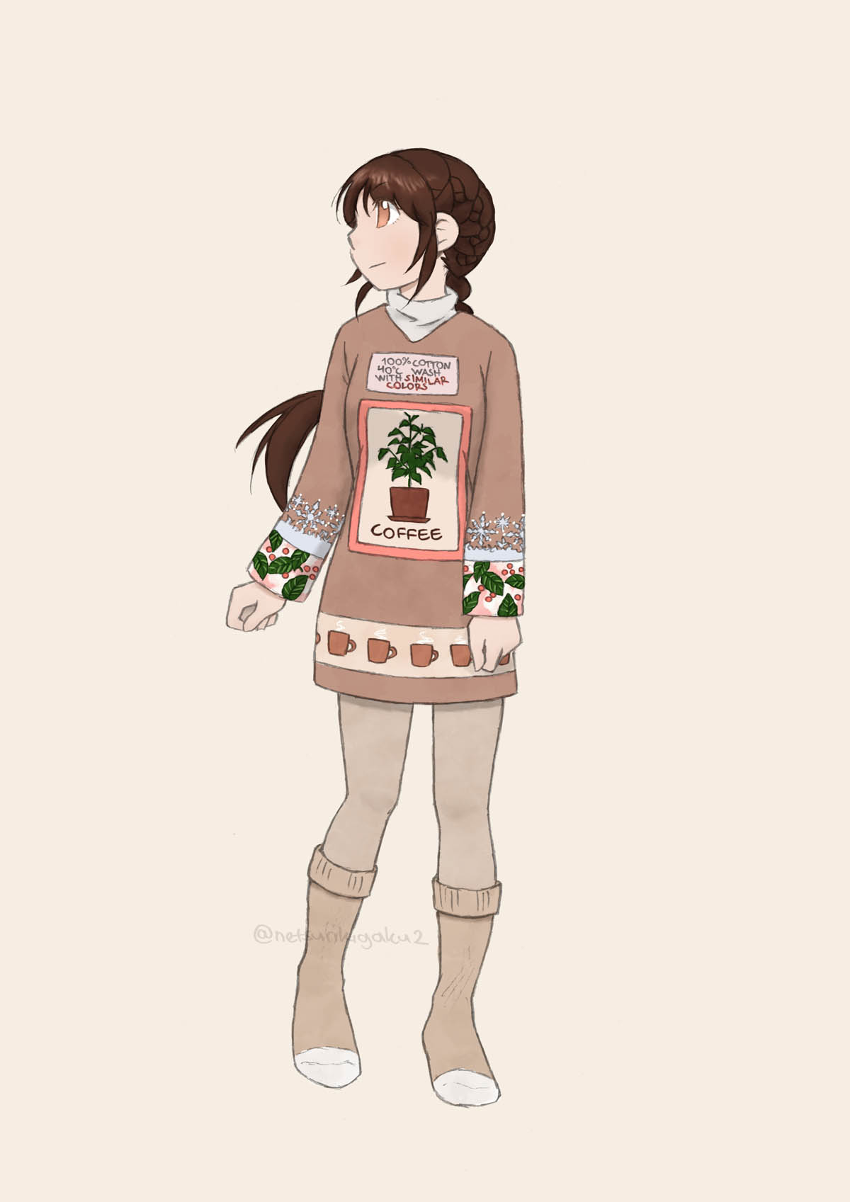 Hiura wearing a tunic with print