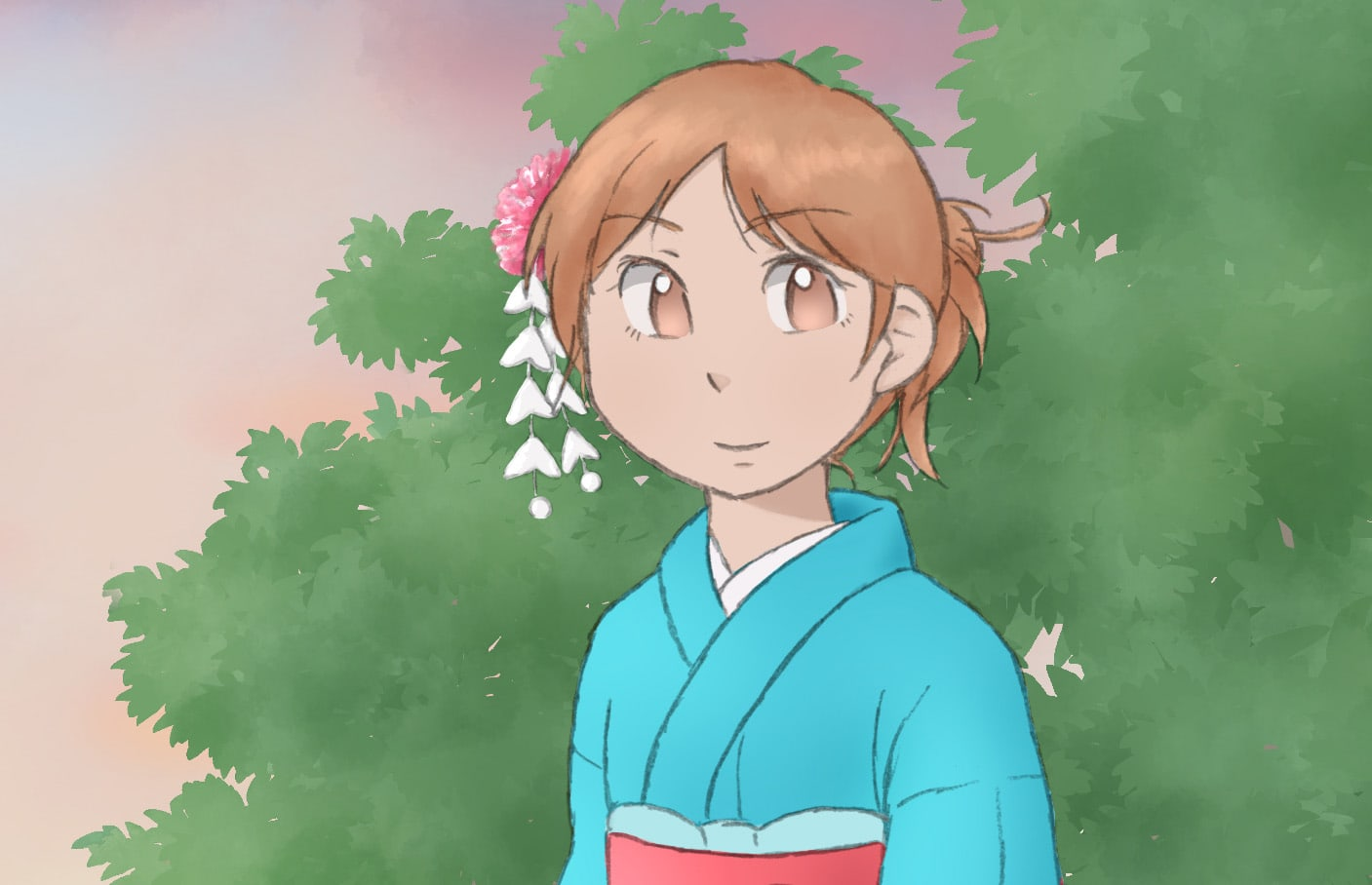 a drawing of a girl wearing kimono